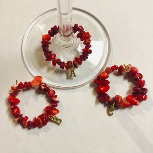 (F) Initial personalized wine glass charms